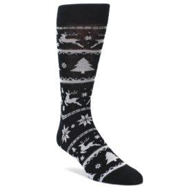 Black-Gray-Reindeer-Tree-Christmas-Mens-Dress-Socks-Yo-Sox