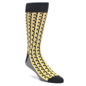 Yellow Gray Optical Y Statement Sockwear socks for Men