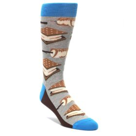 Marshmallow S'more Campfire Socks for Men by Statement Sockwear