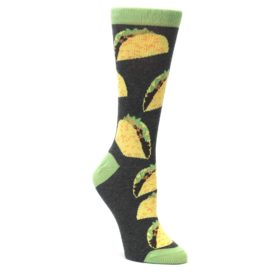 Yellow-Green-Tacos-Womens-Dress-Socks-Statement-Sockwear