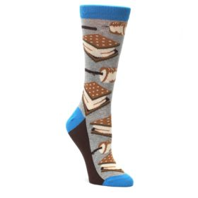 Gray-Marshmallow-Smores-Womens-Dress-Socks-Statement-Sockwear