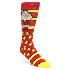 Red-Yellow-Family-Guy-Quagmire-Mens-Casual-Socks-Odd-Sox