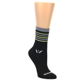 MEDIUM-Black-Gray-Neon-Stripe-Womens-Crew-Athletic-Socks-Swiftwick