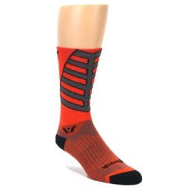 MEDIUM-Orange-Gray-Vision-Stripe-Mens-Tall-Crew-Athletic-Socks-Swiftwick