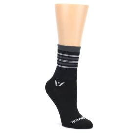 Black-Gray-Stripe-Womens-Crew-Athletic-Socks-Swiftwick
