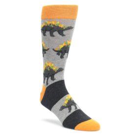Gray-Orange-Nachosaurus-Mens-Dress-Socks-Statement-Sockwear
