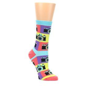 Multi-color-Pastel-Retro-Camera-Womens-Dress-Sock-Sock-It-To-Me