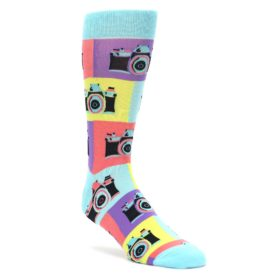 Multicolor-Pastel-Retro-Cameras-Mens-Dress-Socks-Sock-It-To-Me