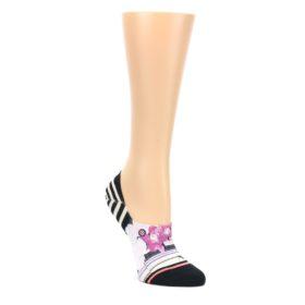 MEDIUM-Black-Magenta-Flowers-Womens-No-Show-Liner-Socks-STANCE