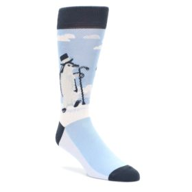 Light-Blue-Slick-Penguin-Mens-Dress-Socks-Statement-Sockwear