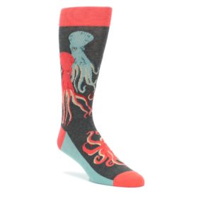 Red-Blue-Octopus-Mens-Dress-Socks-Statement-Sockwear