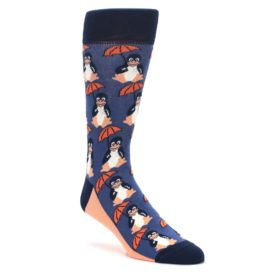 Blue-Orange-Penguin-Umbrella-Mens-Dress-Socks-Statement-Sockwear