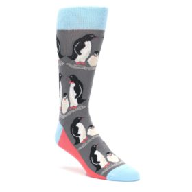 Gray-Blue-Penguin-Family-Mens-Dress-Socks-Statement-Sockwear