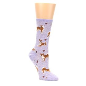 Purple-Shiba-Inu-Dogs-Womens-Dress-Socks-Socksmith