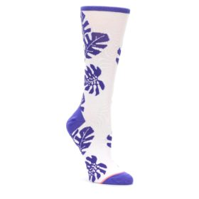 MEDIUM-Purple-White-Leaves-Womens-Casual-Sock-STANCE