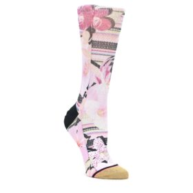 MEDIUM-Pink-Magenta-Flowers-Womens-Casual-Sock-STANCE