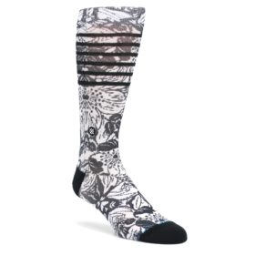 Black-White-Floral-Pattern-Mens-Casual-Socks-STANCE
