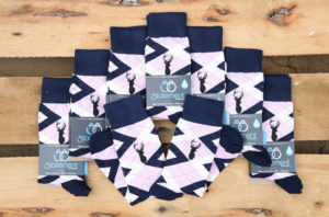 Candy Tickled Pink Navy Customized Image Groomsmen Dress Socks