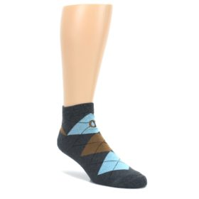 Blue-Brown-Argyle-Clean-Water-Mens-Ankle-Socks-Conscious-Step