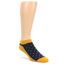 Blue-Yellow-Polka-Dots-Books-Mens-Ankle-Socks-Conscious-Step