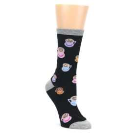 Black-Multi-Color-Coffee-Art-Womens-Dress-Socks-K-Bell-Socks