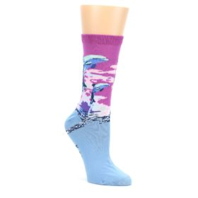 Purple-Blue-Dolphins-Womens-Dress-Socks-K-Bell-Socks
