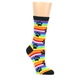 Multi-Color-Stripe-Paw-Prints-Womens-Dress-Socks-K-Bell-Socks