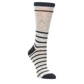 Light-Gray-Heathered-Stripe-Womens-Dress-Socks-Statement-Sockwear