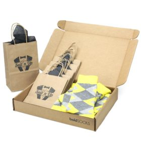 Customizable Groomsmen Wedding Kit Socks Lemon Yellow and Gray