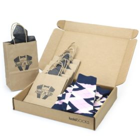 Candy Tickled Pink and Navy Argyle Customizable Wedding Sock Kit