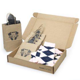 Petal Blush Pink Navy Argyle Customizable Groomsmen Wedding Sock Kit