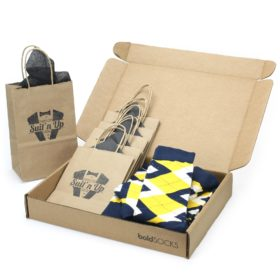 Golden Yellow and Navy Socks in Customizable Groomsmen Wedding Kit
