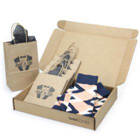 Peach Navy Argyle Socks in Customizable Groomsmen Wedding Kit