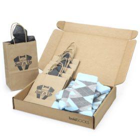 Capri Blue Argyle Socks in Customizable Wedding Groomsmen Gift Kit