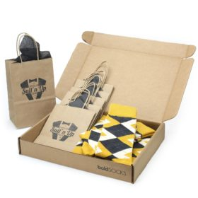 Mustard Yellow Wedding Socks in Customizable Groomsmen Gift Kit