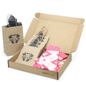Guava Bellini Pink Argyle Socks in Customizable Groomsmen Wedding Gift Kit