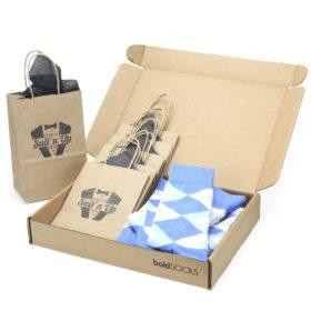 Cornflower Blue Argyle Socks in Customizable Groomsmen Wedding Gift Kit