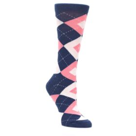 Women's Flamingo Pink and Navy Dress Socks