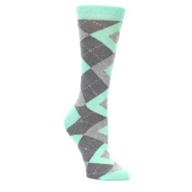 Mint Green Argyle Women's Wedding Socks