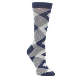 Navy Gray Argyle Socks for Women by Statement Sockwear