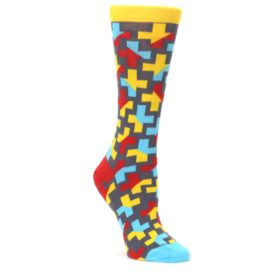 Yellow-Gray-Red-Blue-Plus-Womens-Dress-Socks-Ballonet-Socks