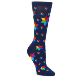 Navy-Multicolor-Stars-Womens-Dress-Socks-Ballonet-Socks