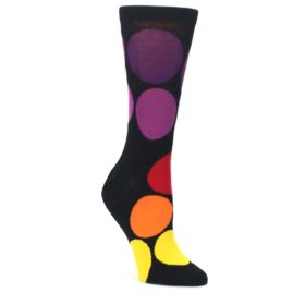 Black-Purple-Yellow-Orange-Circles-Womens-Dress-Socks-Ballonet-Socks