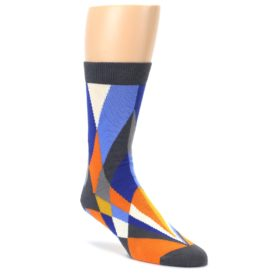 Blue-Orange-Gray-Geometric-Pattern-Mens-Dress-Socks-Ballonet-Socks