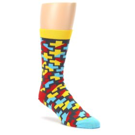 Yellow-Gray-Red-Blue-Plus-Mens-Dress-Socks-Ballonet-Socks