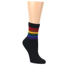 Black-Multicolor-Rainbow-Stripes-Womens-Crew-Socks-Pride-Socks