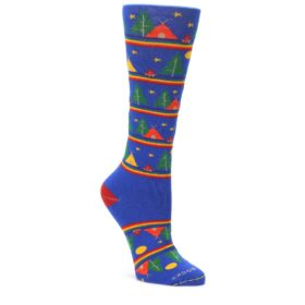 Blue-Green-Yellow-Camping-Womens-Crew-Socks-Pride-Socks