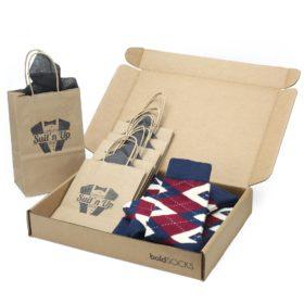 Burgundy Navy Argyle Wedding Socks in Customizable Groomsmen Gift Kit