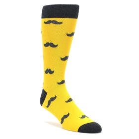 Golden Yellow and Gray Mustache Socks