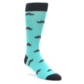 Spa Green Mustache Wedding Groomsmen Socks by Statement Sockwear